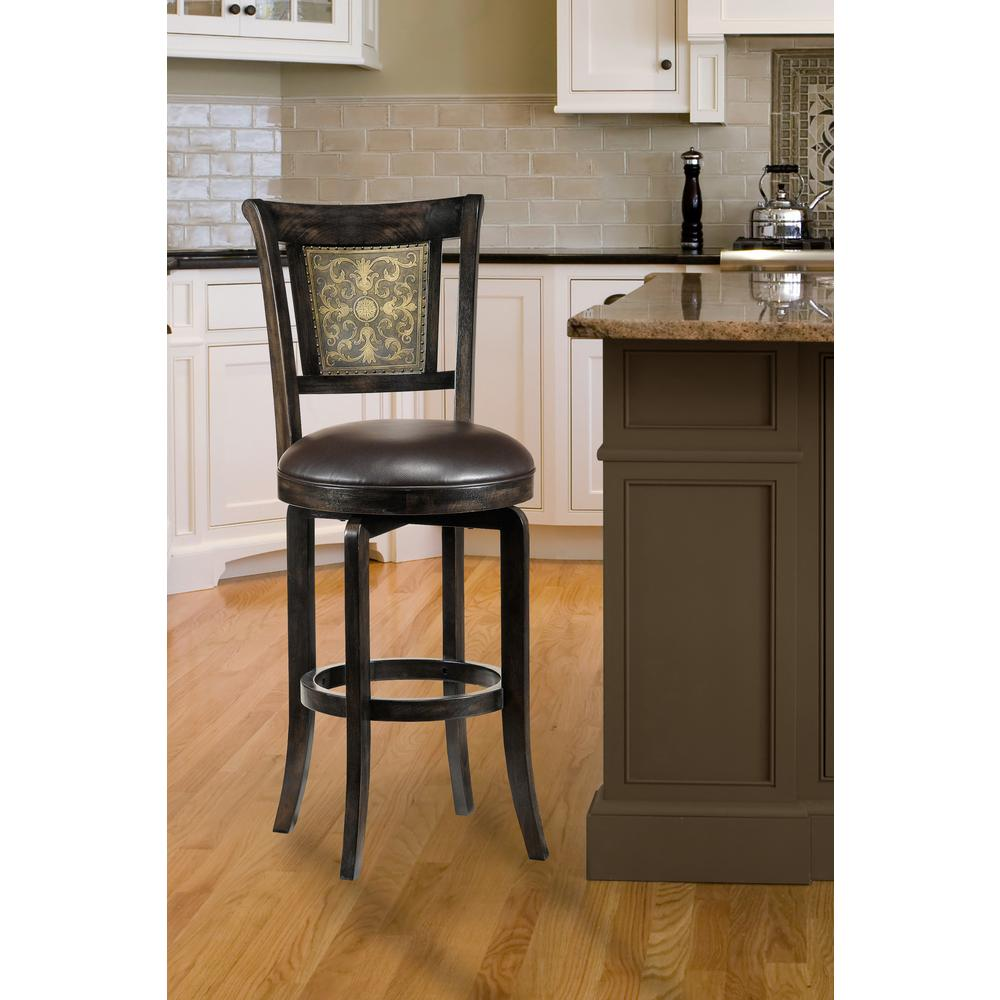 Hillsdale Furniture Camille 30 5 In Dark Brown Swivel Cushioned Bar Stool 4861 830 The Home Depot