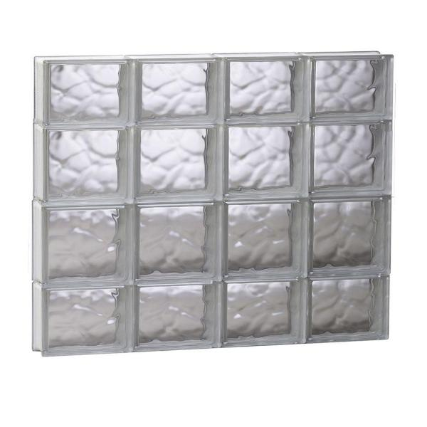 31 in. x 27 in. x 3.125 in. Frameless Wave Pattern Non-Vented Glass Block Window