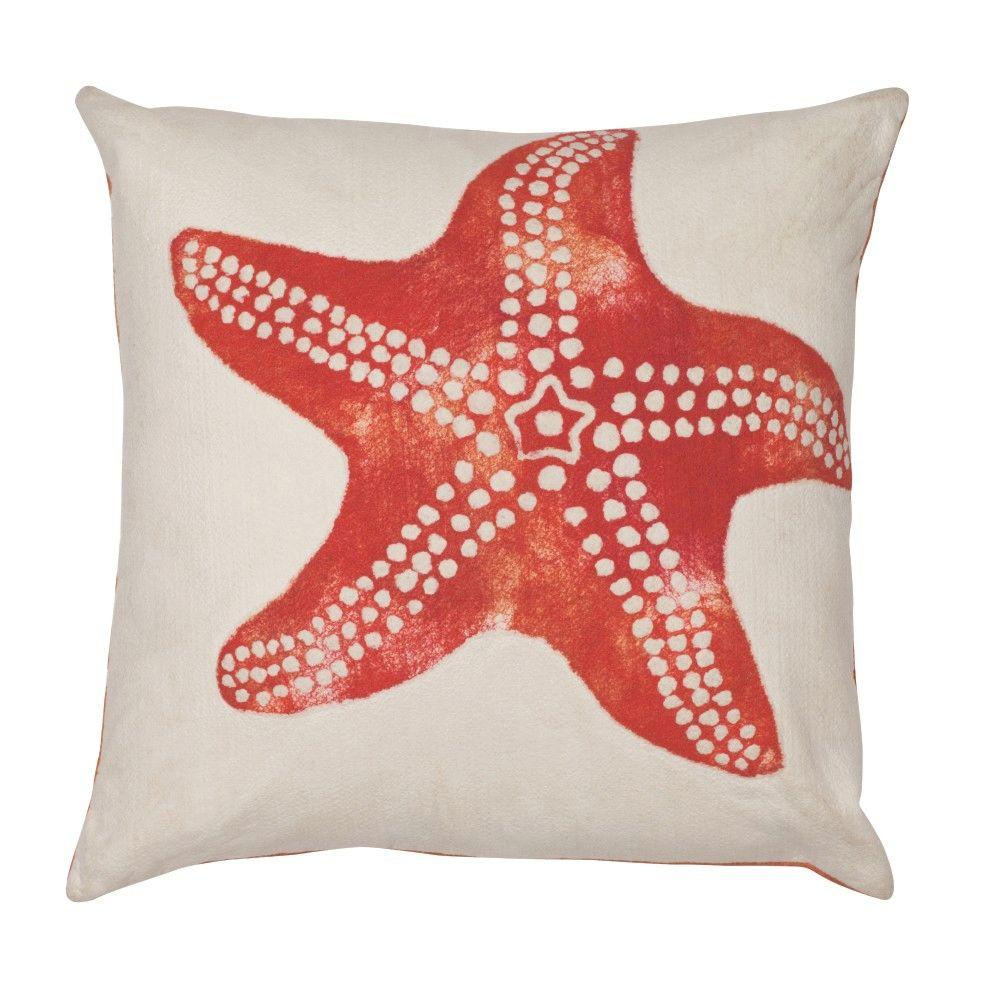 Home Decorators Collection Sea Creatures Starfish Square Outdoor Throw Pillow
