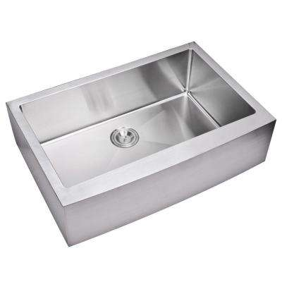 Farmhouse Apron Front Small Radius Stainless Steel 33 in. Single Bowl Kitchen Sink in Satin