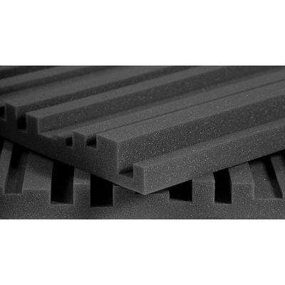 2 ft. W x 4 ft. L x 2 in. H Studio Foam Metro Panels - Charcoal (12 Panels per Box)