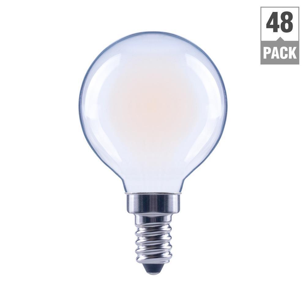 40-Watt Equivalent G16.5 Globe Dimmable ENERGY STAR Frosted Glass Filament Vintage LED Light Bulb Soft White (48-Pack)