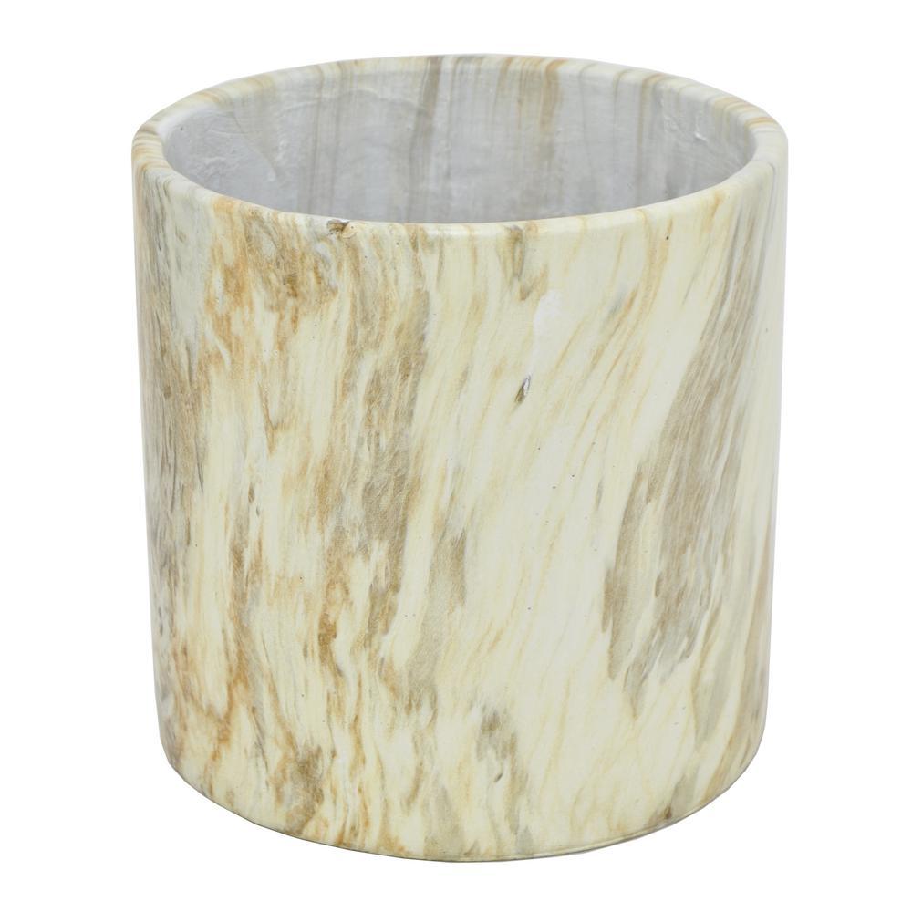 8 in. H Beige Marbled Ceramic Flower Pot