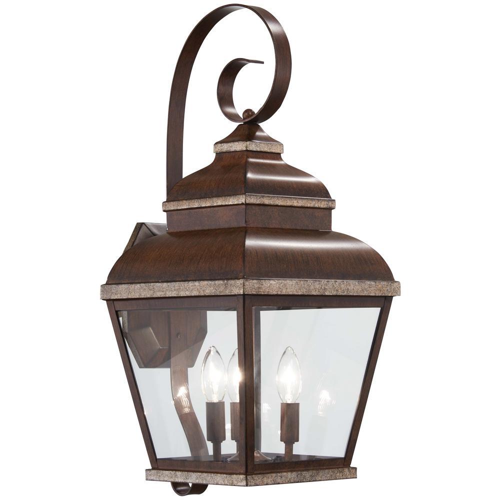 3-Light Mossoro Walnut with Silver Highlights Outdoor Wall Mount Lantern