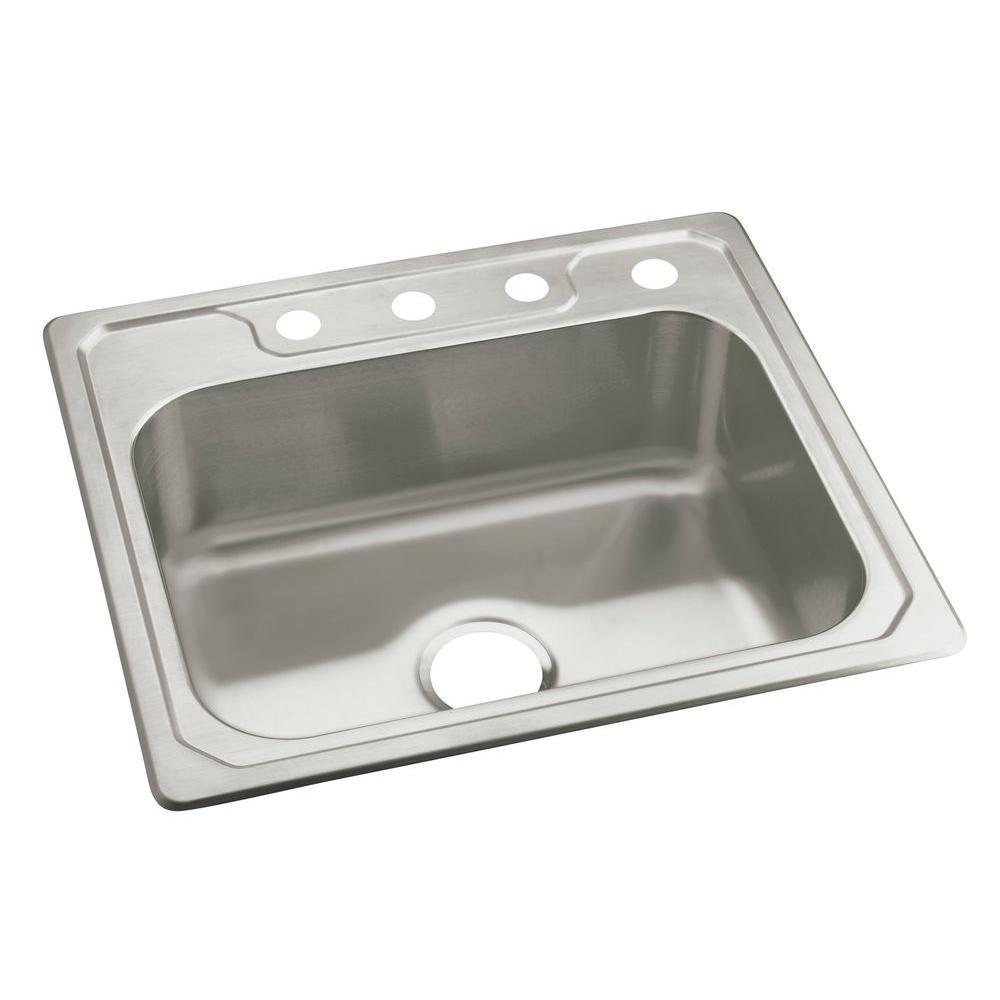 Banner Drop-In Stainless Steel 25 in. 4-Hole Single Basin Kitchen Sink