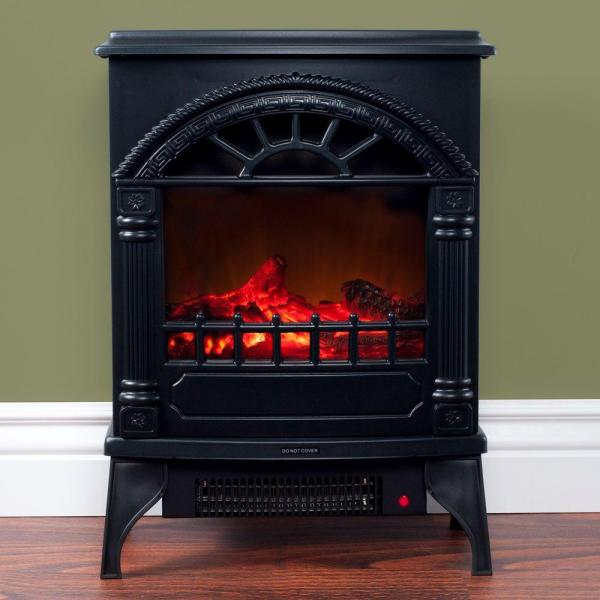 21.5 in. Freestanding Electric Log Fireplace in Black