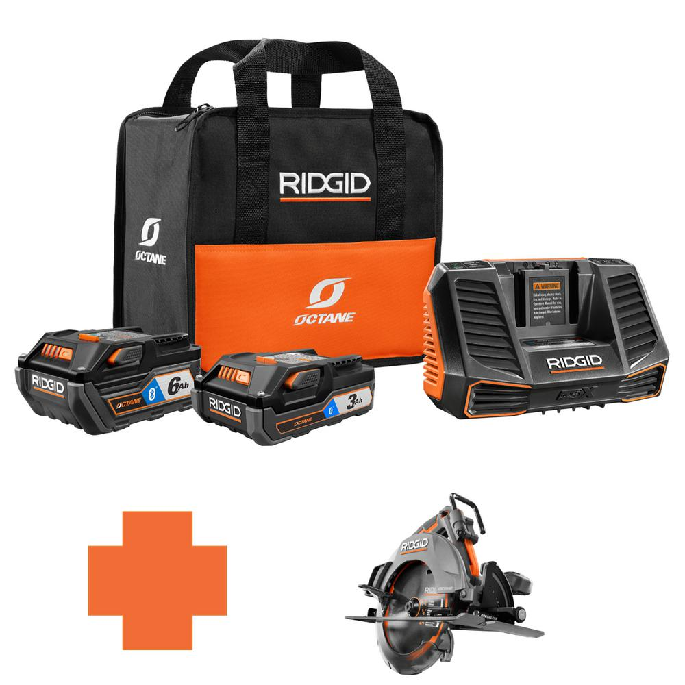 RIDGID 18-Volt OCTANE Battery and Charger Kit w/(1) 3.0 Ah, (1) 6.0 Ah Battery and Charger w/Bonus 7-1/4 in. Circ Saw