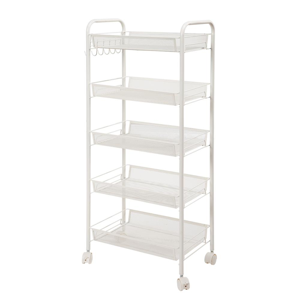 5-Tiers Iron Exquisite Honeycomb Net Storage Cart Rack Organizer Shelf in