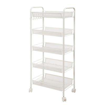 5-Tiers Iron Exquisite Honeycomb Net Storage Cart Rack Organizer Shelf in Ivory White