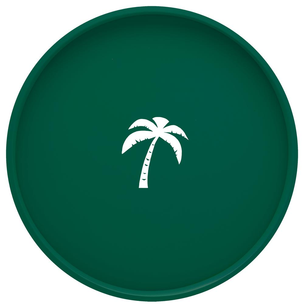 Kasualware Palm Tree 14 in. Round Serving Tray in Green