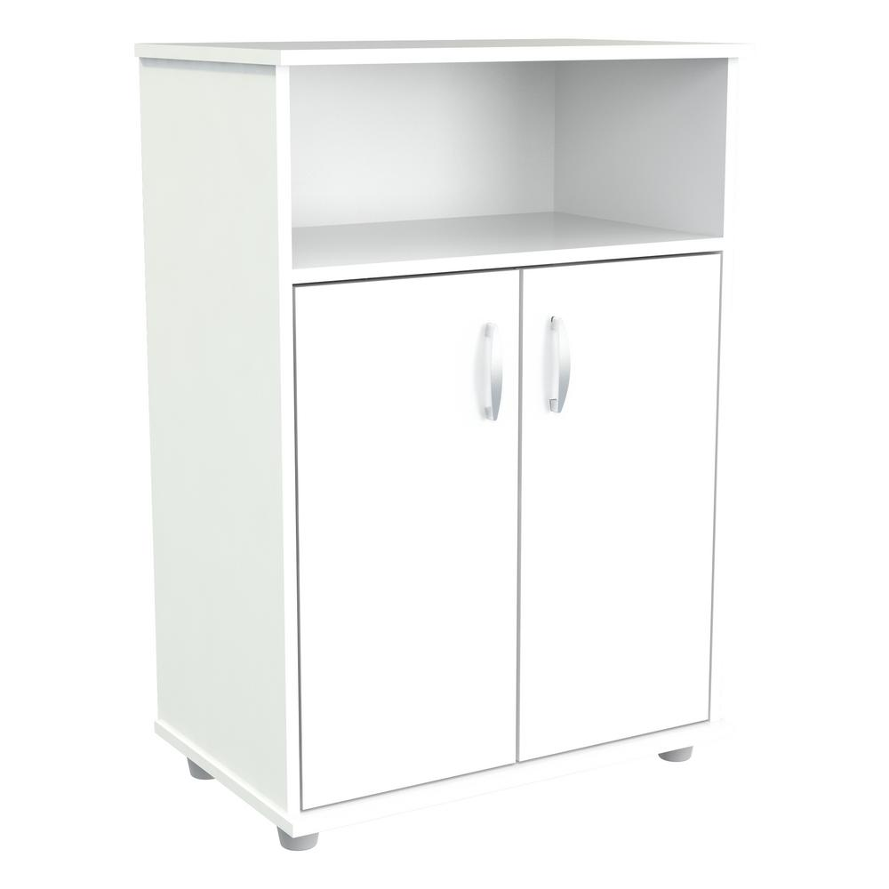 Microwave Storage Utility Cabinet In Laricina White