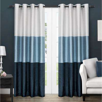 Chateau 54 in. W x 96 in. L Faux Silk Grommet Top Curtain Panel in Indigo (2 Panels)