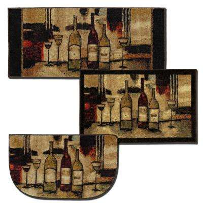 Wine and Glasses Brown 2 ft. 6 in. x 3 ft. 10 in. 3-Piece Rug Set