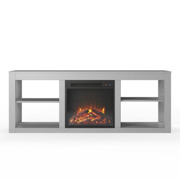 Ameriwood Nelson Dove Gray 65 in. TV Stand with Electric Fireplace