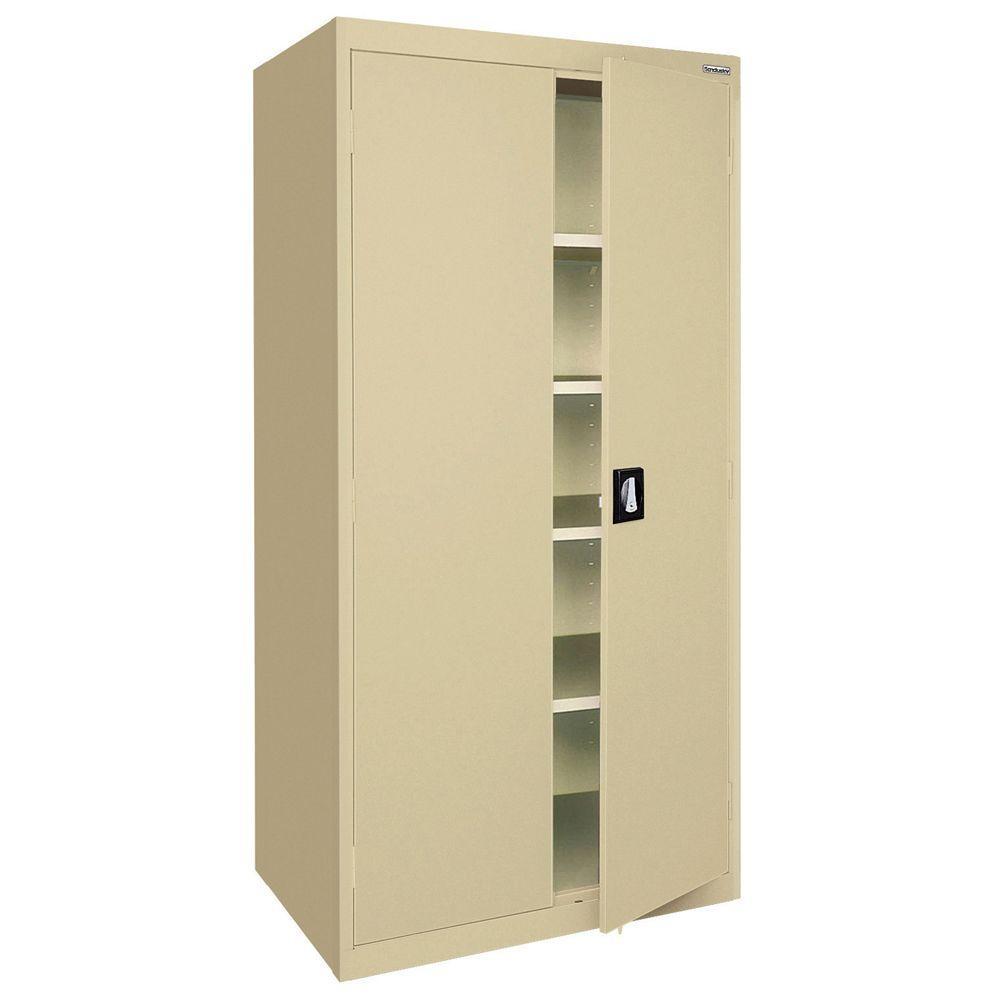 Elite Series 78 in. H x 36 in. W x 24 in. D 5-Shelf Steel Recessed Handle Storage Cabinet in Tropic Sand