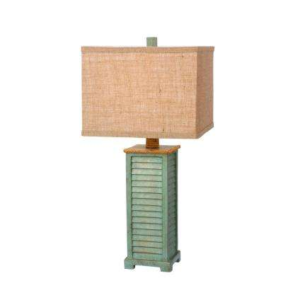 25.5 in. Antique Green Resin Table Lamp