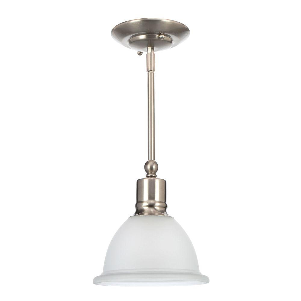 Madison Collection 1-Light Brushed Nickel Mini Pendant with Etched Glass Shade