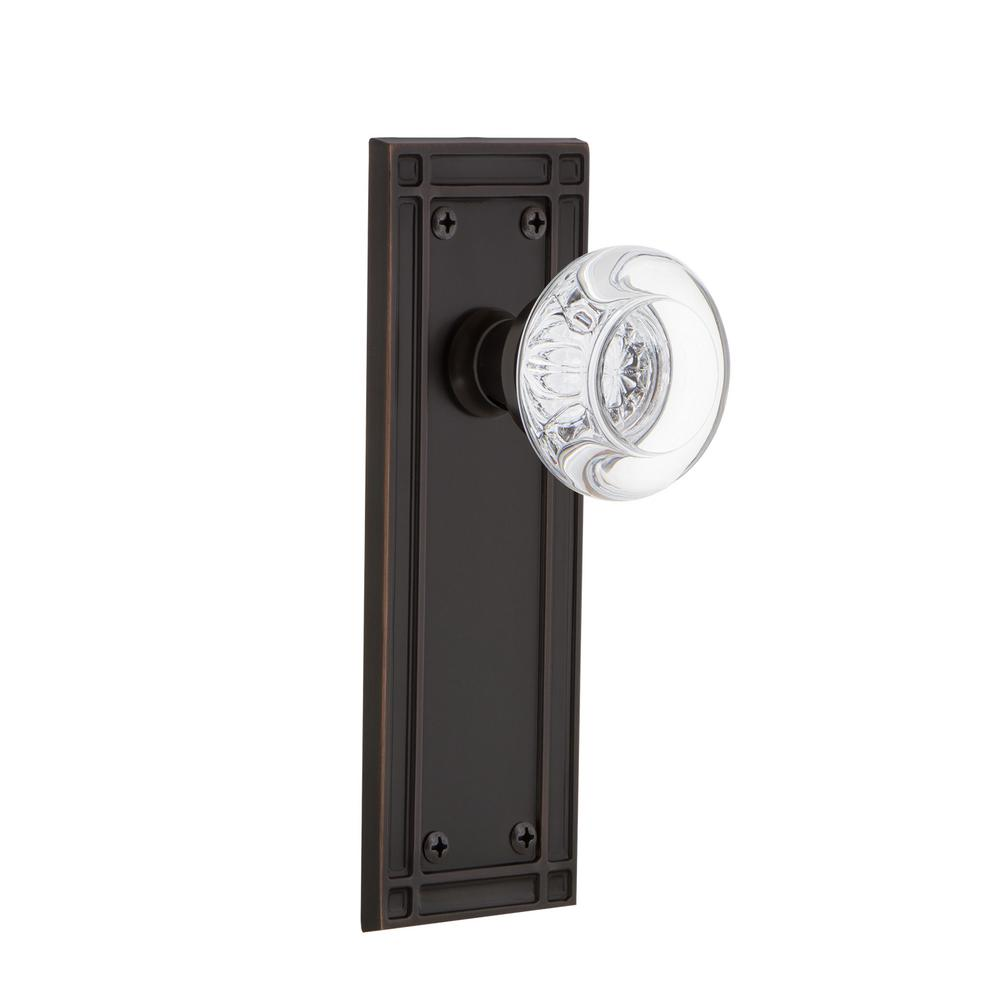 Nostalgic Warehouse Mission Plate 2-3/8 in. Backset Timeless Bronze Privacy Bed/Bath Round Clear Crystal Glass Door Knob