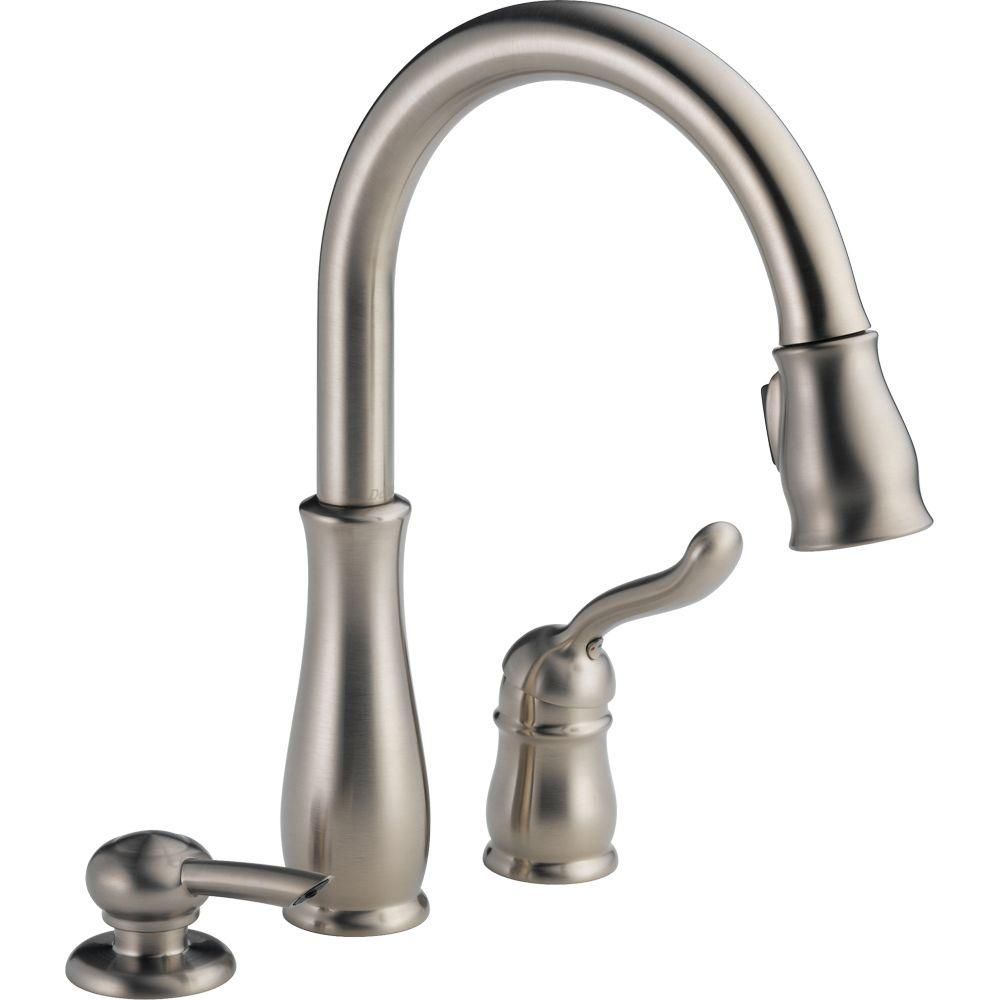 Delta Leland Single Handle Pull Down Sprayer Kitchen Faucet With Soap Dispenser And Magnatite Docking In Stainless 978 Sssd Dst The Home Depot