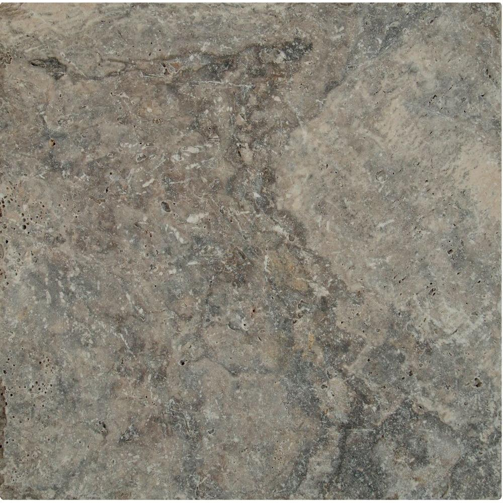 Silver 16 in. x 16 in. Tumbled Travertine Paver Tile (20