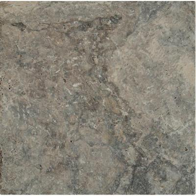 Silver Tumbled Travertine 16 in. x 16 in. Gray Paver Tile (60-Pieces/106.8 Sq. Ft./Pallet)