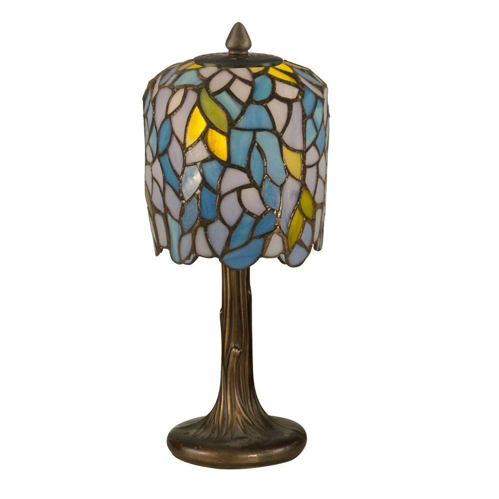 13 in. Dark Antique Bronze Wisteria Art Glass Mini Lamp
