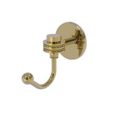 Satellite Orbit One  Screw-In Robe Hook with Dotted Accents in Unlacquered Brass