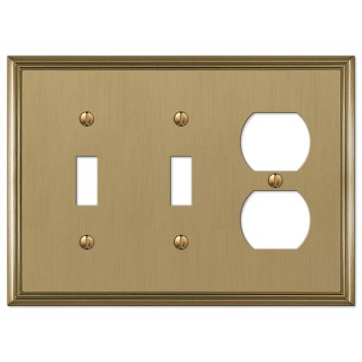 Rhodes 3 Gang 2-Toggle and 1-Duplex Metal Wall Plate - Brushed Bronze