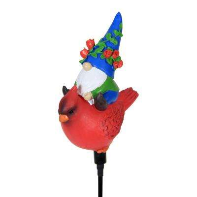 Solar Gnome Winter 14 in. Riding Cardinal