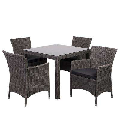 Grand New Liberty 5-Piece Wicker Outdoor Dining Set with Grey Cushions