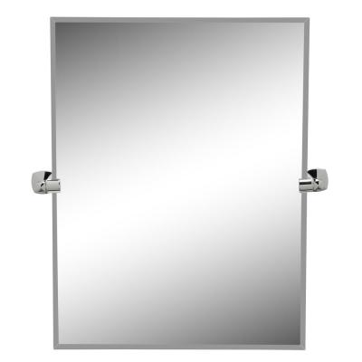 Jewel 32 in. x 28 in. Frameless Rectangle Mirror in Chrome