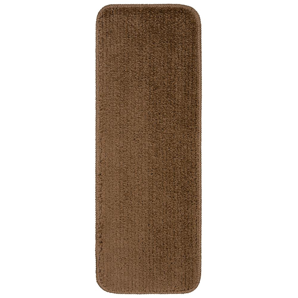 Ottomanson Comfort Collection Brown 9 in. x 26 in. Rubber Back Plush Stair Tread (Set of 14)