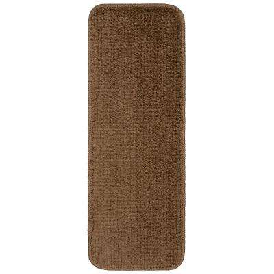 Comfort Collection Brown 9 in. x 26 in. Rubber Back Plush Stair Tread (Set of 14)