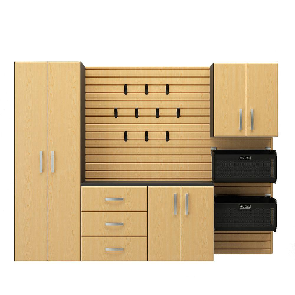 Flow Wall Deluxe 72 in. H x 96 in. W x 17 in. D Wall Mounted Garage Cabinet Set in Maple (5 Piece)