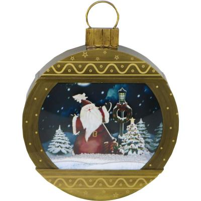 24 in. Christmas Ornament Shadowbox with Santa Scene, Cascading Snow, and Holiday Music