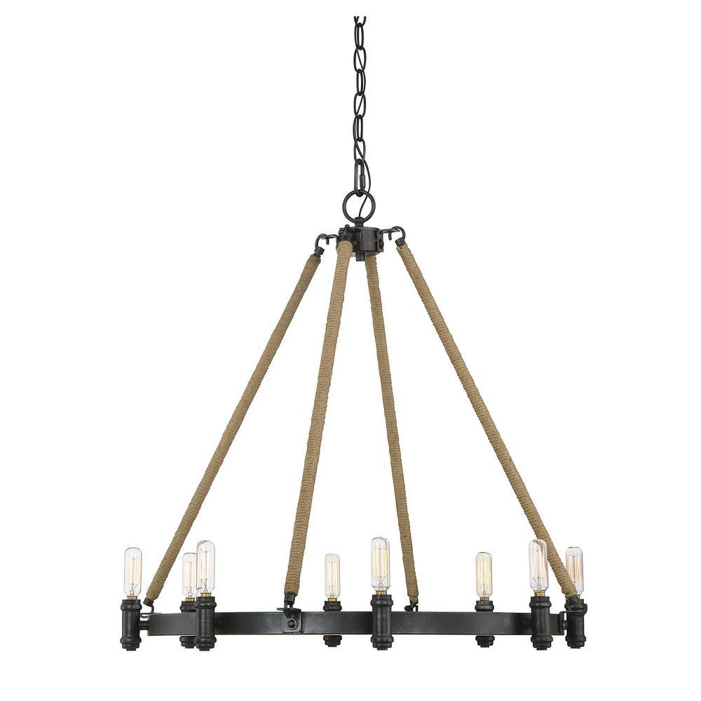 Filament Design 8-Light Rustic Black Chandelier
