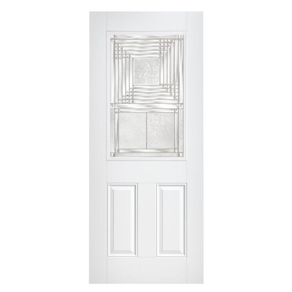 Masonite Rochelle Half Lite Primed Steel Prehung Front Door with No Brickmold-DISCONTINUED