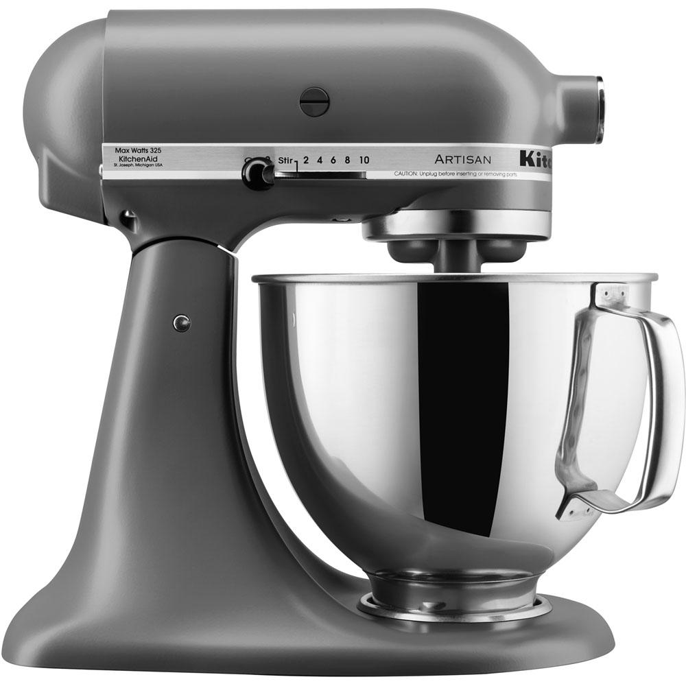 kitchenaid artisan series 5 qt tilt back head stand mixer in matte gray ksm150psfg the home depot. Black Bedroom Furniture Sets. Home Design Ideas