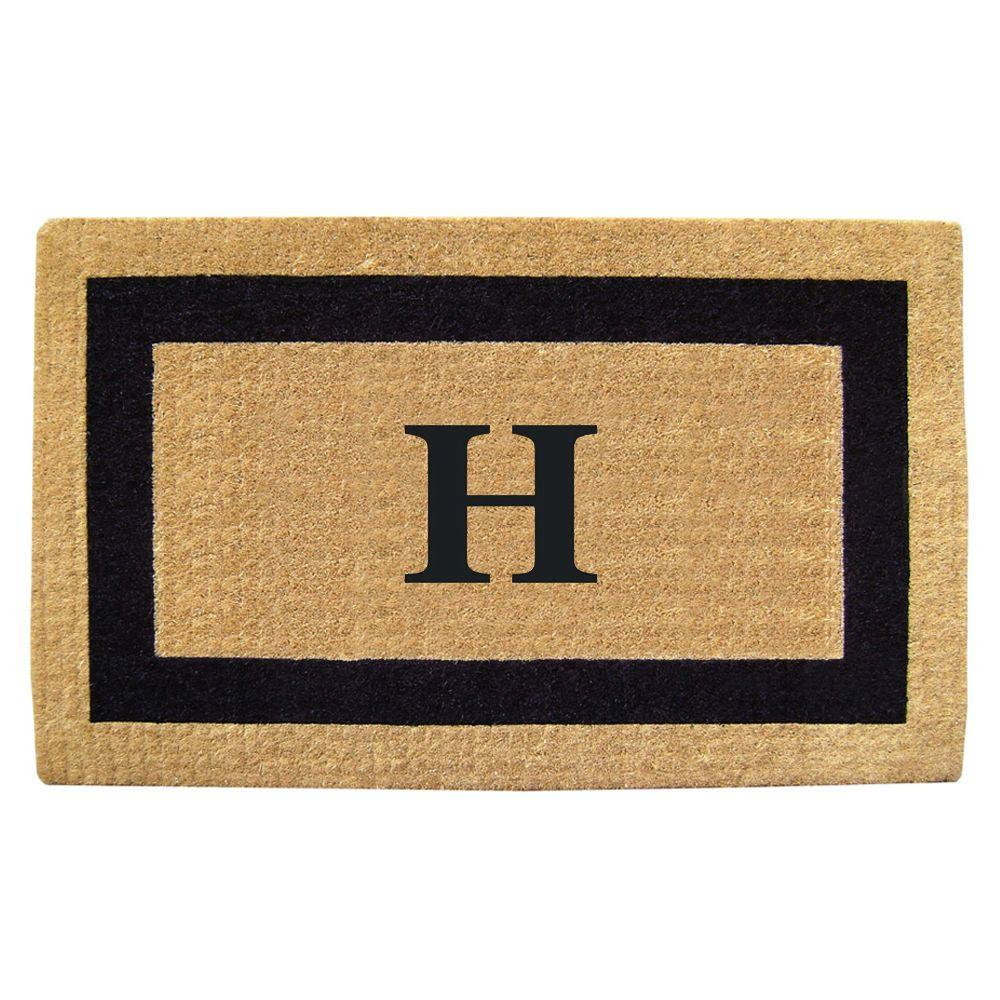 Nedia Home Single Picture Frame Black 22 in. x 36 in. HeavyDuty Coir Monogrammed H Door Mat