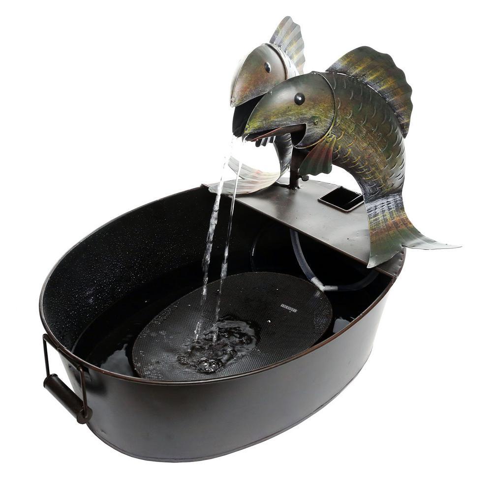 17 in. Tall Metal 2-Fish on a Tin Fountain