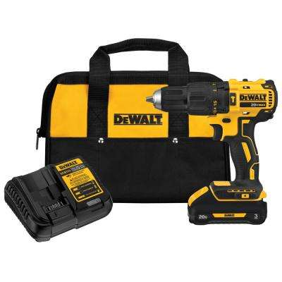 20-Volt MAX Lithium-Ion Cordless Brushless 1/2 in. Compact Hammer Drill with Battery 3.0Ah, Charger and Contractor Bag