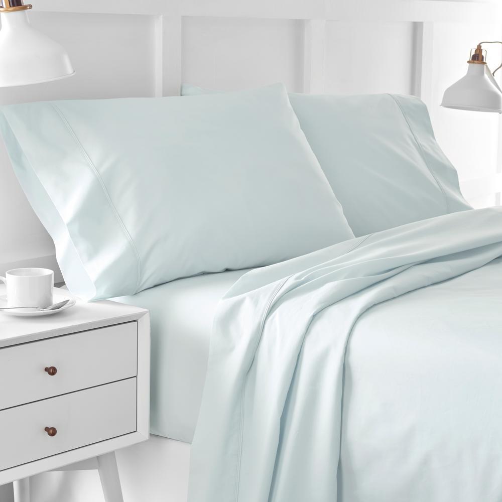 Urban Edgelands T200 3-Piece Seaglass Green Organic Cotton Twin Sheet Set