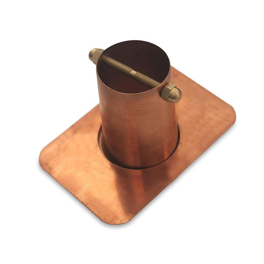 Monarch 2-Piece Pure Copper Gutter Adapter with Brass Bolt for Rain Chain Installation (Standard Gutter)