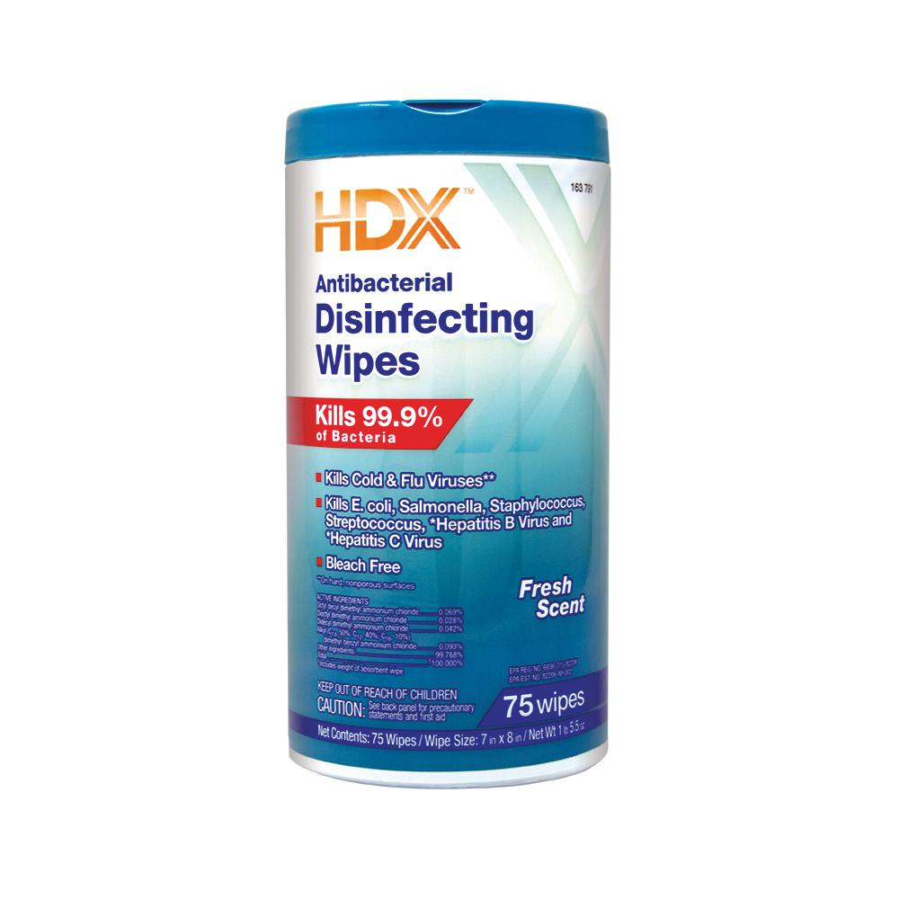 hdx fresh scented antibacterial disinfecting wipes 75 count