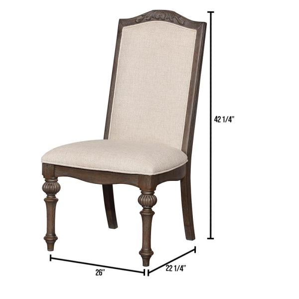 ARCADIA Rustic Natural Tone and Ivory Transitional Style Side Chair