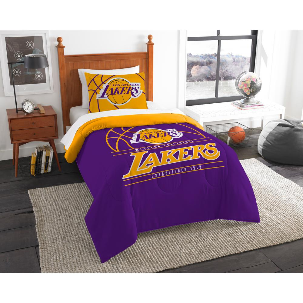Superieur Lakers 2 Piece Multi Color Polyester Reverse Slam Twin Comforter Set