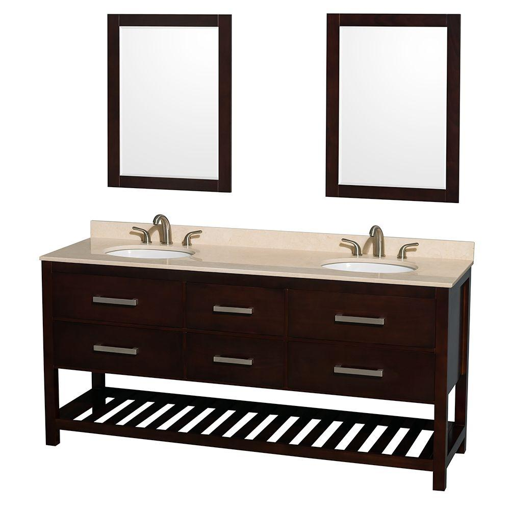 Wyndham Collection Natalie 72 in. Double Vanity in Espresso with Marble Vanity Top in Ivory, Under-Mount Oval Sinks and 24 in. Mirrors