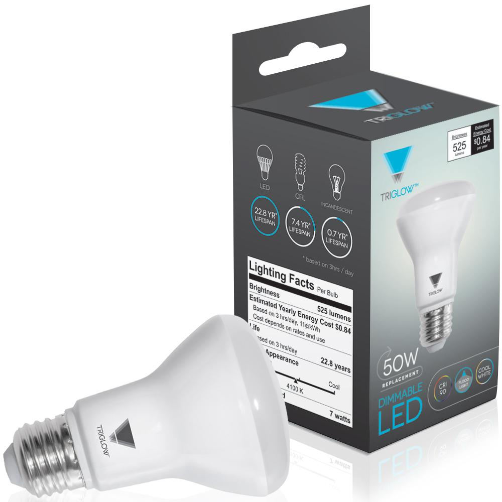TriGlow 50-Watt Equivalent BR20 Dimmable LED Light Bulb Cool White