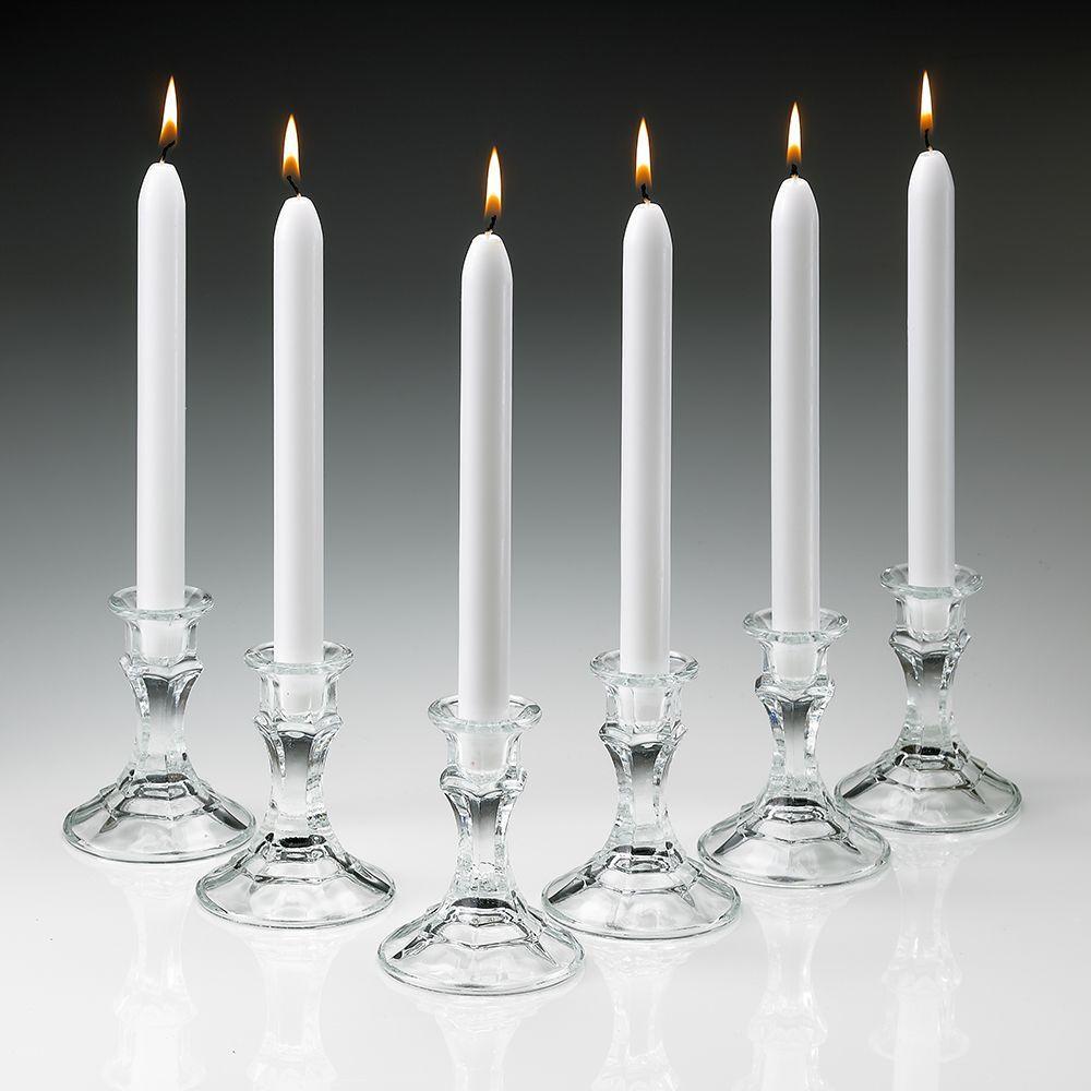 Tall Elegant White Taper Candles Set Of 12