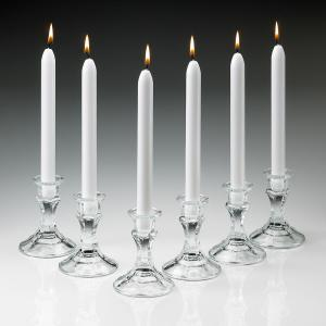 Light In The Dark 10 inch Tall Elegant White Taper Candles (Set of 12) by Light In The Dark